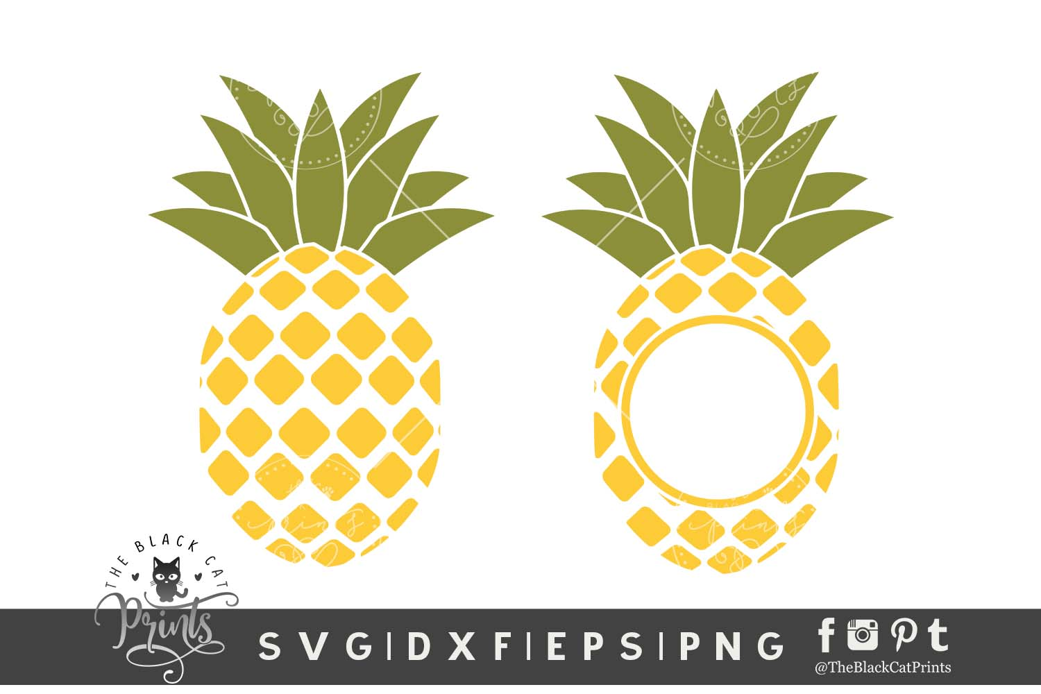 Download Free Pineapple Monogram Graphic By Theblackcatprints Creative Fabrica for Cricut Explore, Silhouette and other cutting machines.