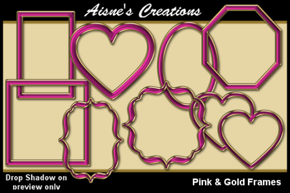 Print on Demand: Pink & Gold Frames Graphic Objects By Aisne