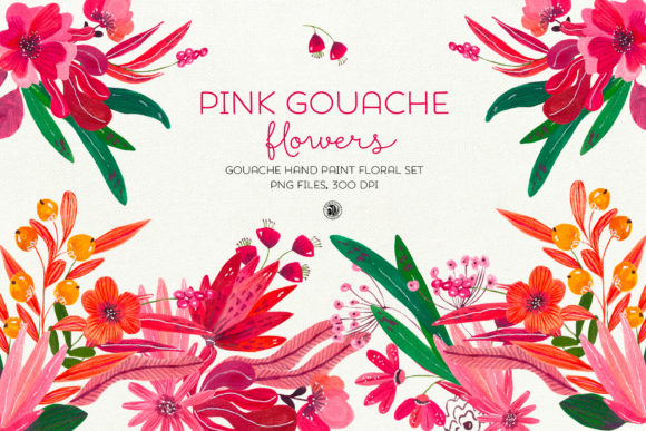 Print on Demand: Pink Gouache Flowers Graphic Objects By webvilla