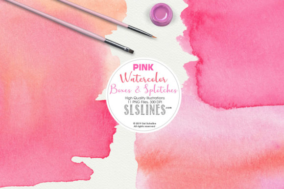 Print on Demand: Pink Watercolor Boxes & Rectangles Set Graphic Illustrations By SLS Lines