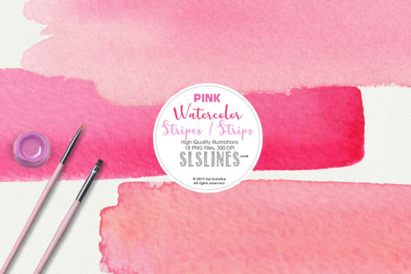 Print on Demand: Pink Watercolor Headers and Stripes Set Graphic Illustrations By SLS Lines