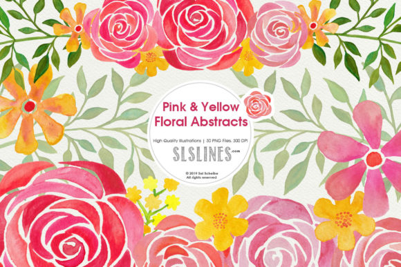 Print on Demand: Pink & Yellow Watercolor Florals Graphic Illustrations By SLS Lines