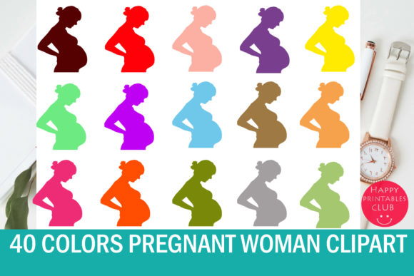 Print on Demand: Pregnant Lady Clipart Graphics Graphic Illustrations By Happy Printables Club