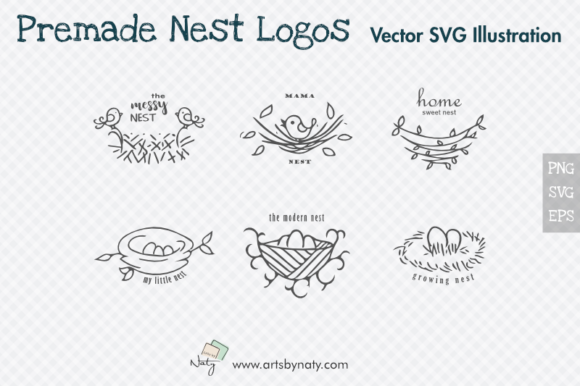 Print on Demand: Premade Nest Logos Illustration. Graphic Illustrations By artsbynaty