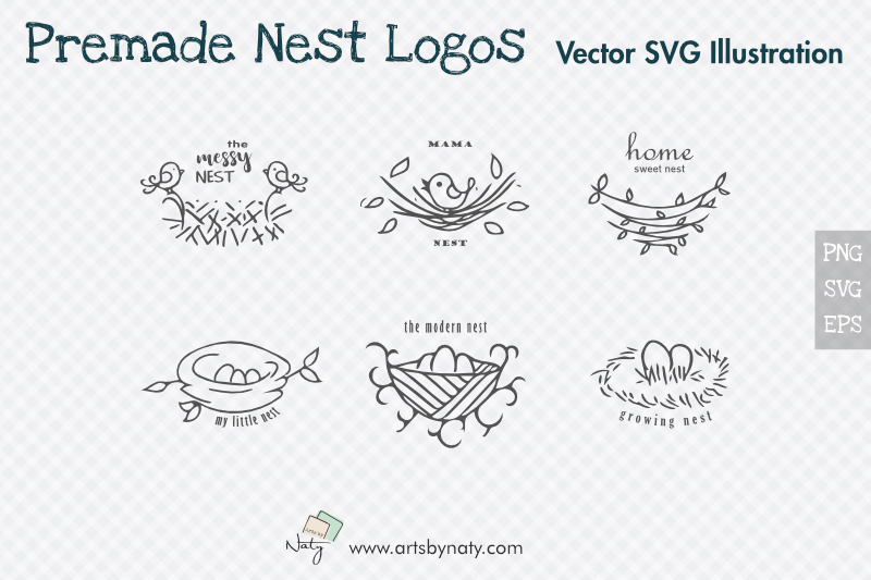 Download Free Premade Nest Logos Svg Illustration Graphic By Artsbynaty for Cricut Explore, Silhouette and other cutting machines.