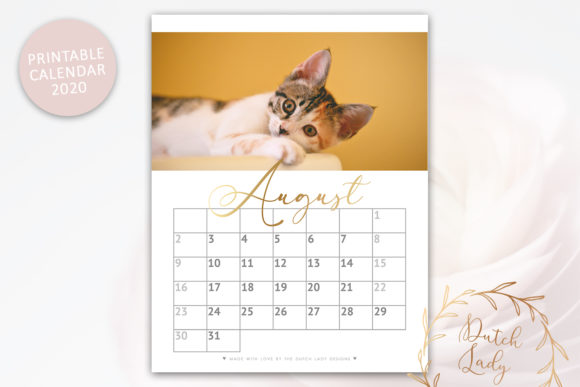 Print on Demand: Printable Monthly Calendar 2020 Cats Graphic Print Templates By daphnepopuliers - Image 2