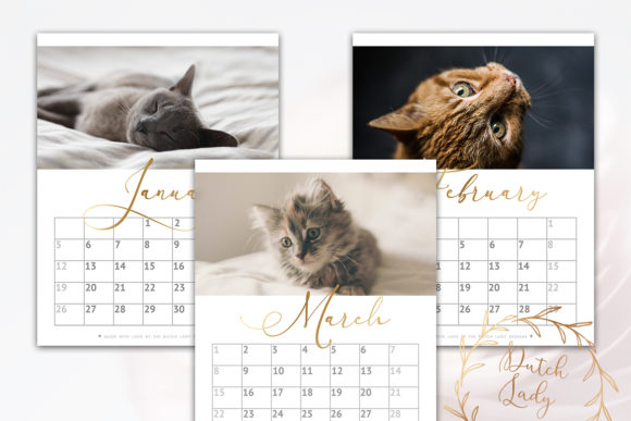 Print on Demand: Printable Monthly Calendar 2020 Cats Graphic Print Templates By daphnepopuliers - Image 3