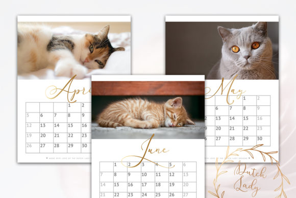 Print on Demand: Printable Monthly Calendar 2020 Cats Graphic Print Templates By daphnepopuliers - Image 4