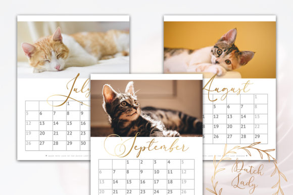 Print on Demand: Printable Monthly Calendar 2020 Cats Graphic Print Templates By daphnepopuliers - Image 5