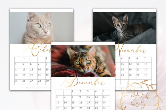 Print on Demand: Printable Monthly Calendar 2020 Cats Graphic Print Templates By daphnepopuliers - Image 6