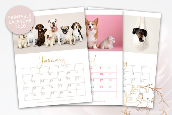 Print on Demand: Printable Monthly Calendar 2020 Dogs Graphic Print Templates By daphnepopuliers