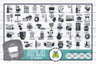 Download Free Pun Kitchen Art Mega Bundle Graphic By Funkyfrogcreativedesigns for Cricut Explore, Silhouette and other cutting machines.