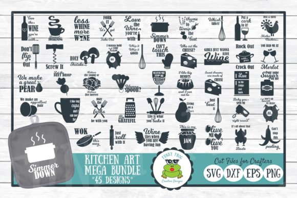 Download Free Pun Kitchen Art Mega Bundle Graphic By Funkyfrogcreativedesigns SVG Cut Files