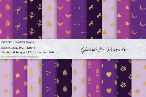 Download Free Purple Gold Geometric Seamless Patterns Graphic By Bonadesigns for Cricut Explore, Silhouette and other cutting machines.