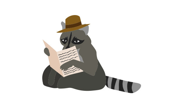 Raccoon Reading a Newspaper Animals Craft Cut File By Creative Fabrica Crafts