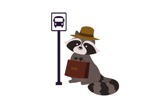 Download Free Raccoon Waiting At Bus Stop With Briefcase Svg Cut File By for Cricut Explore, Silhouette and other cutting machines.