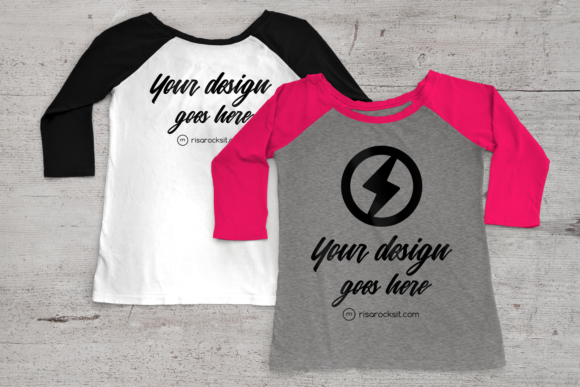 Raglan Tee Shirt Product Mock Up Graphic Product Mockups By RisaRocksIt