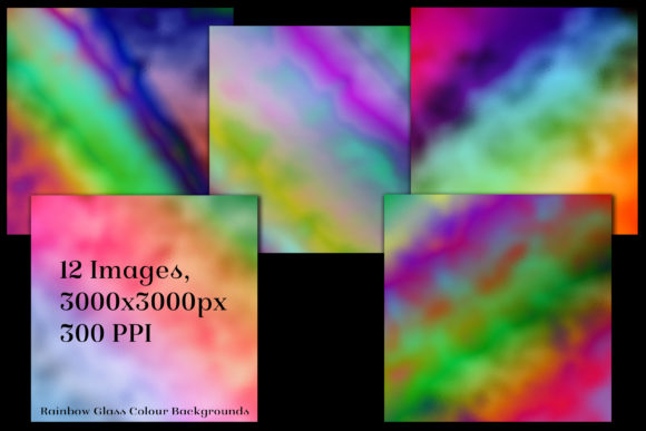 Print on Demand: Rainbow Colour Glass Backgrounds Graphic Backgrounds By SapphireXDesigns - Image 2