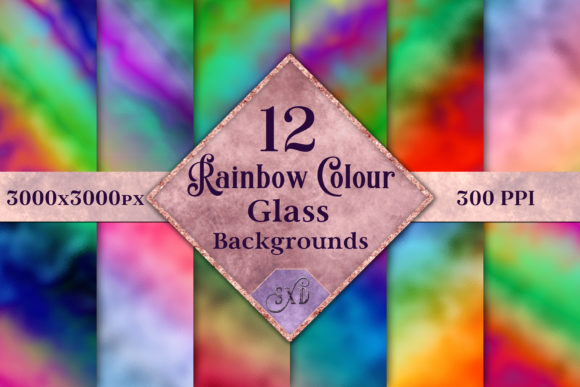 Rainbow Colour Glass Backgrounds Graphic By SapphireXDesigns