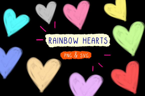 Rainbow Hearts, Pride Month, Cotton PNG