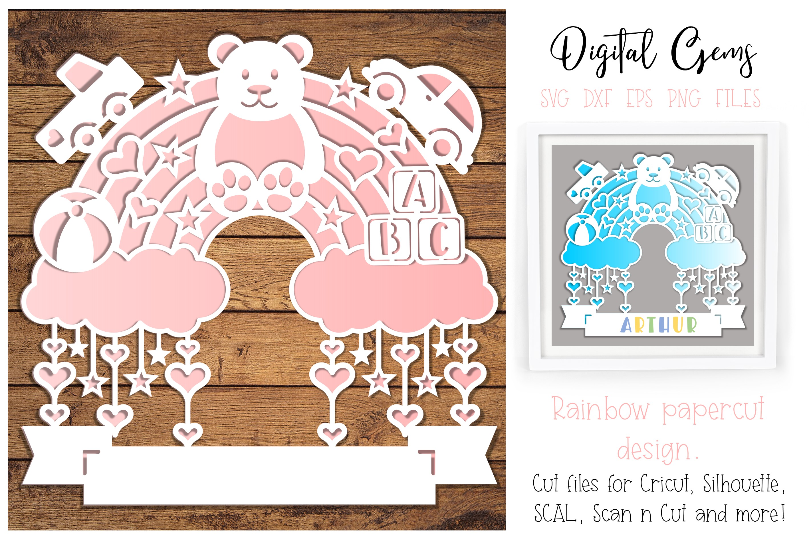 Download Free Rainbow Paper Cut Design Graphic By Digital Gems Creative Fabrica for Cricut Explore, Silhouette and other cutting machines.