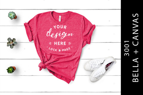 Raspberry Bella Canvas 3001 Mockup Shirt Graphic By lockandpage