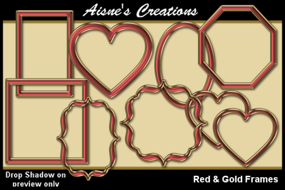 Print on Demand: Red & Gold Frames Graphic Objects By Aisne