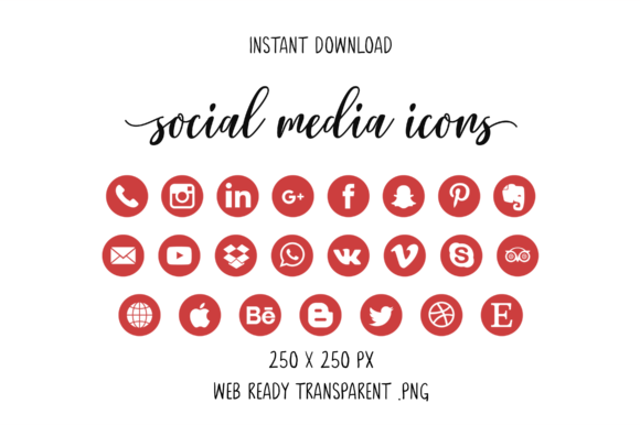 Red Social Media Icons Grafik Icons von The Branding Place