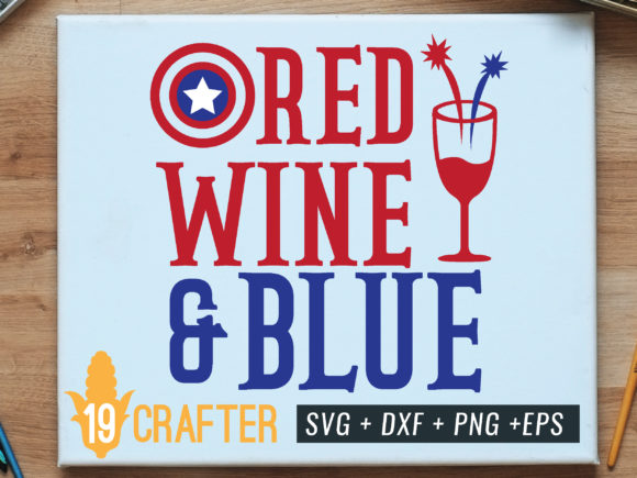 Print on Demand: Red Wine and Blue America Shield Gráfico Crafts Por great19