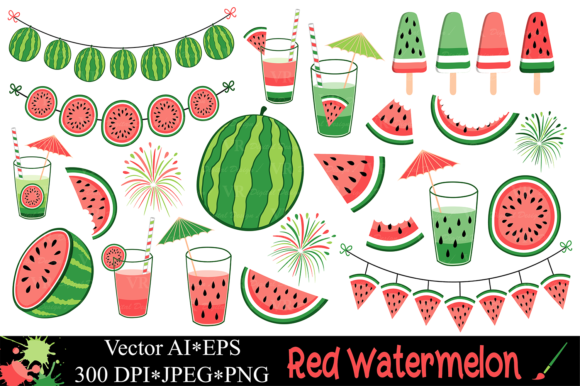 Red Watermelon Clipart / Summer Graphics Graphic Illustrations By VR Digital Design