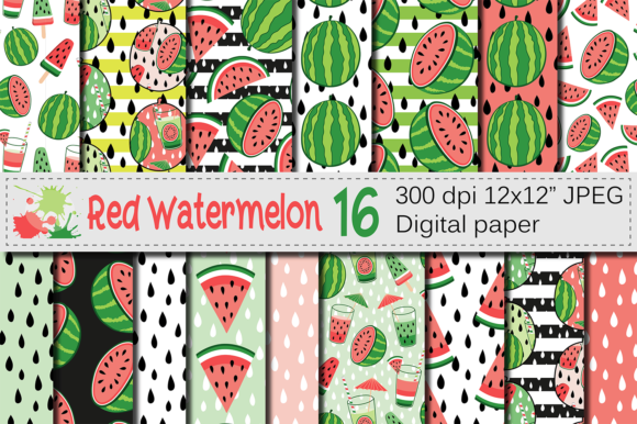 Download Free Red Watermelon Seamless Patterns Grafico Por Vr Digital Design for Cricut Explore, Silhouette and other cutting machines.