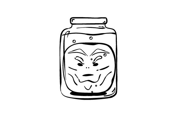 Retro Alien Head in Jar Line Art Halloween Craft Cut File By Creative Fabrica Crafts - Image 1