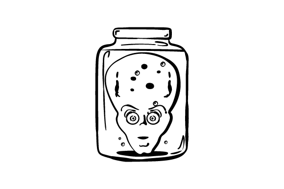 Download Free Retro Alien Head In Jar Line Art Svg Cut File By Creative for Cricut Explore, Silhouette and other cutting machines.