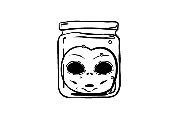 Retro Alien Head in Jar Line Art Halloween Craft Cut File By Creative Fabrica Crafts