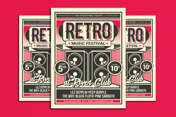 Retro Music Festival Graphic Print Templates By muhamadiqbalhidayat