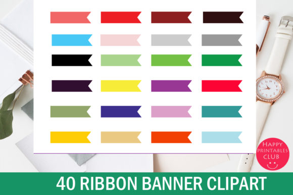 Print on Demand: Ribbon Banner Clipart Cute Ribbons Graphic Illustrations By Happy Printables Club