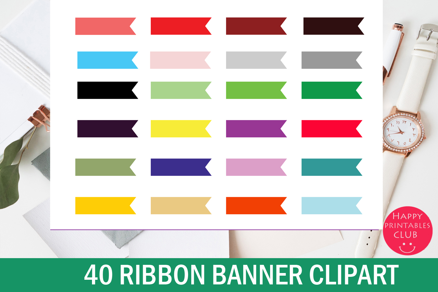Download Free Ribbon Banner Clipart Cute Ribbons Graphic By Happy Printables for Cricut Explore, Silhouette and other cutting machines.