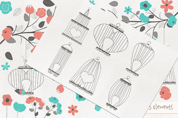 Romantic Bird Cages Clipart and Vectors Graphic By Michelle Alzola Image 3