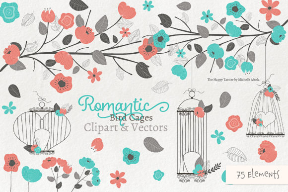 Print on Demand: Romantic Bird Cages Clipart and Vectors Graphic Illustrations By Michelle Alzola