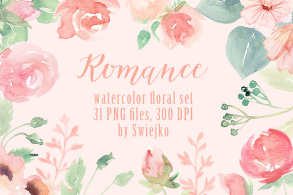 Romantic Watercolor Flowers Graphic Illustrations By swiejko - Image 1