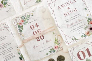 Print on Demand: Rose Gold Geometric Wedding Suite Graphic Print Templates By Blue Robin Design Shop