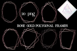 Rose Gold Polygonal Frames Graphic By fantasycliparts