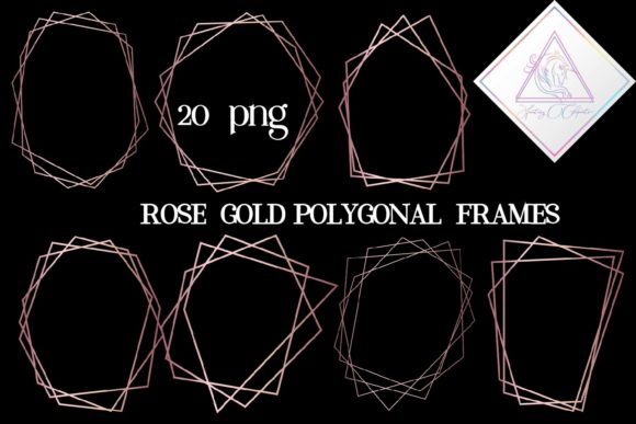 Print on Demand: Rose Gold Polygonal Frames Graphic Illustrations By fantasycliparts