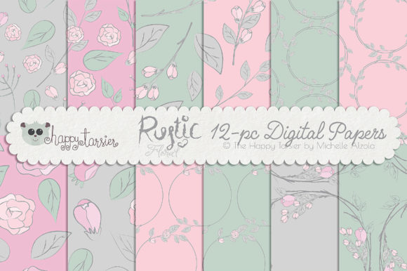 Print on Demand: Rustic Floral Graphics Pack Graphic Illustrations By Michelle Alzola - Image 2