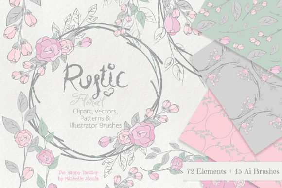 Print on Demand: Rustic Floral Graphics Pack Graphic Illustrations By Michelle Alzola - Image 1