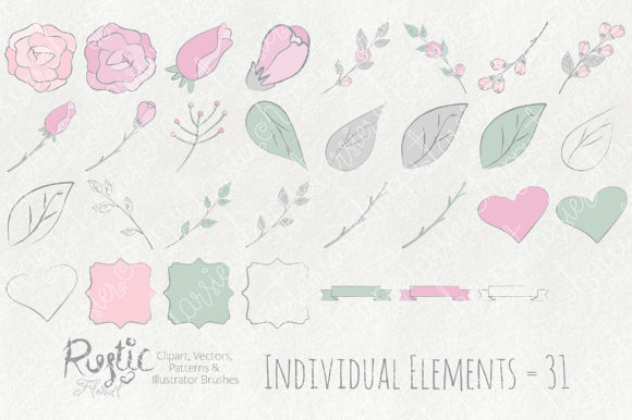 Print on Demand: Rustic Floral Graphics Pack Graphic Illustrations By Michelle Alzola - Image 7
