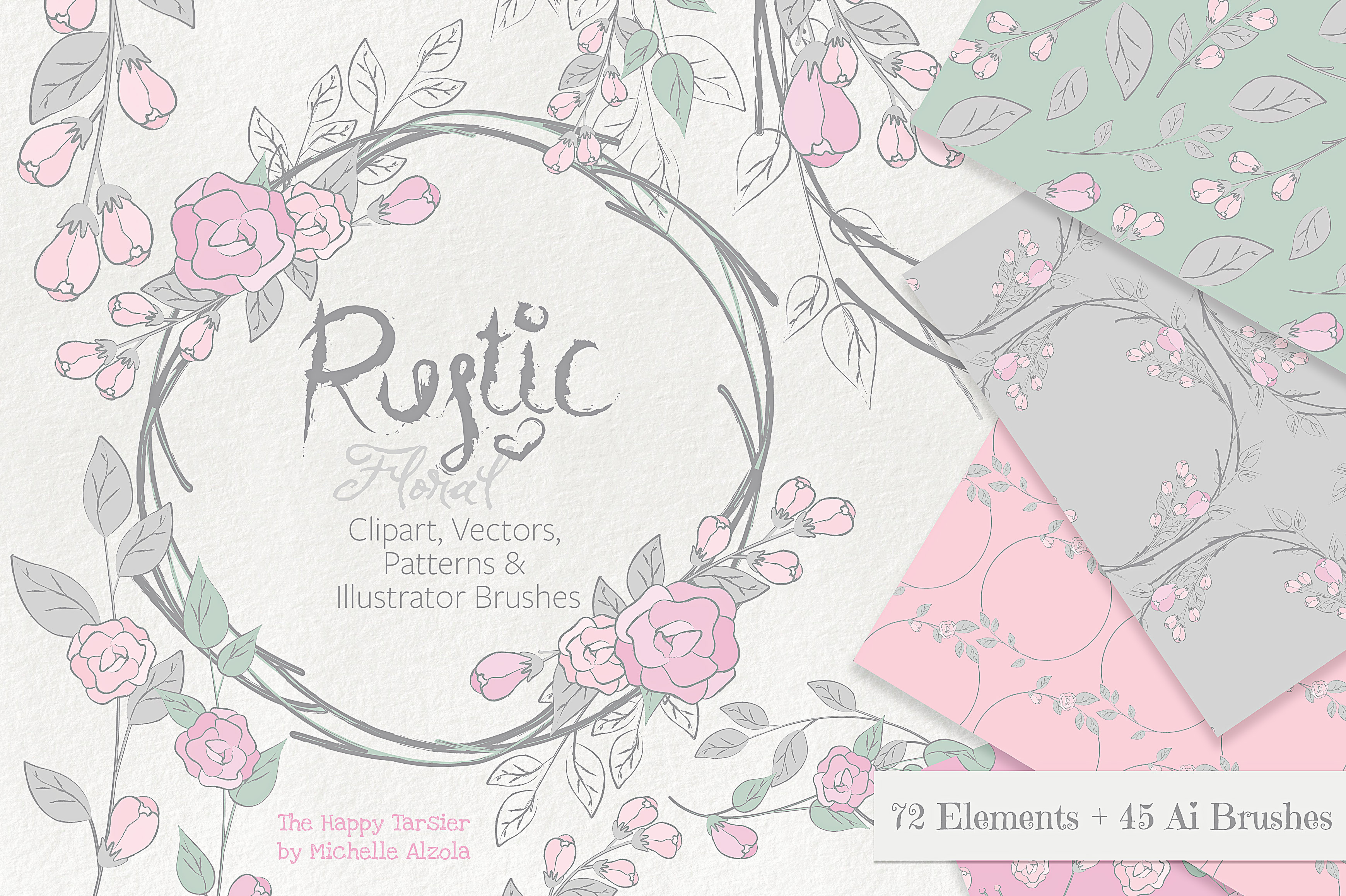 Rustic Floral Graphics Pack Graphic By Michelle Alzola