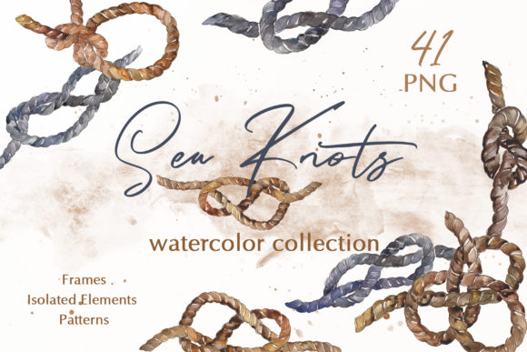 Print on Demand: Sea Knots Watercolor Png Graphic Illustrations By MyStocks