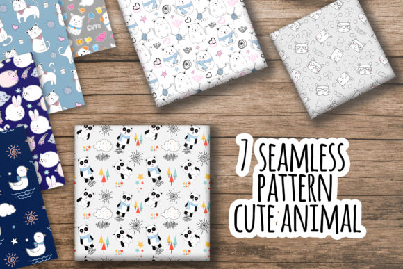 Print on Demand: Seamless Pattern Cute Animal Hand Drawn Graphic Patterns By OrchidArt