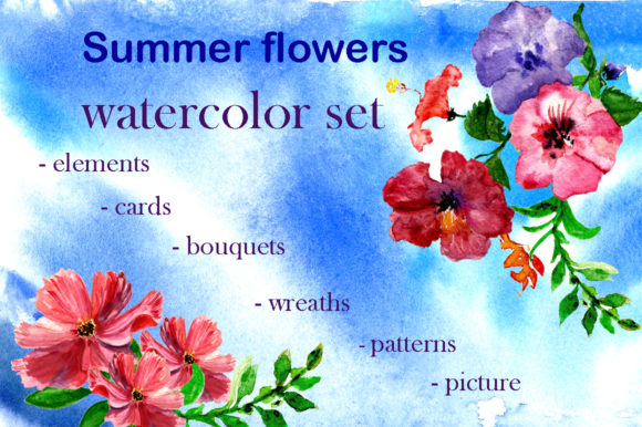 Set Summer Flowers Graphic By kakva